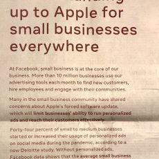 Apple ile Facebook Arasında Yaşanan ve Gazete Reklamlarına Kadar Yansıyan Gerginlik