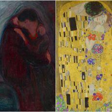 """Gustav Klimt'in, Küresel Şöhret Olan """"Öpücük"""" Tablosunda Aslında Edvard Munch'tan Esinlenmesi"""